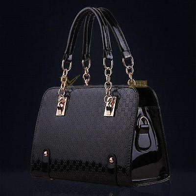Women PU Leather Handbag Hobo Tote Chain Messenger Crossbody Purse Shoulder Bag