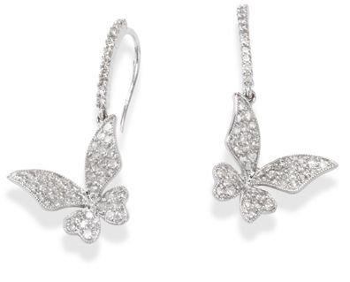 14k White Gold Diamond Butterfly Earrings with Eurowire Backs only