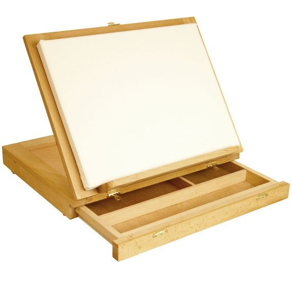 Portable, Adjustable Wood Desk Easel With Drawers, Will Support Up To 11 X  14