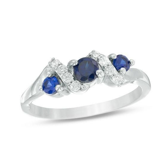 Zales Lab-Created Blue Sapphire and Diamond Accent Three Stone Crossover Ring in Sterling Silver E9cJvWBHq