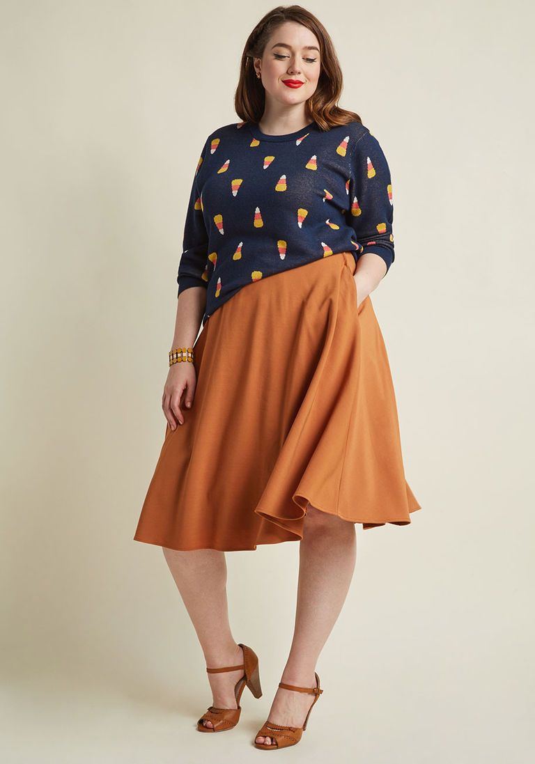 c45985b656e3 Just This Sway Midi Skirt in Turmeric in M - A-line by ModCloth