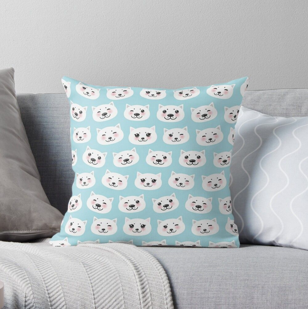 'Kawaii cat with pink cheeks, pastel colors white blue pink, seamless pattern' Throw Pillow by EkaterinaP