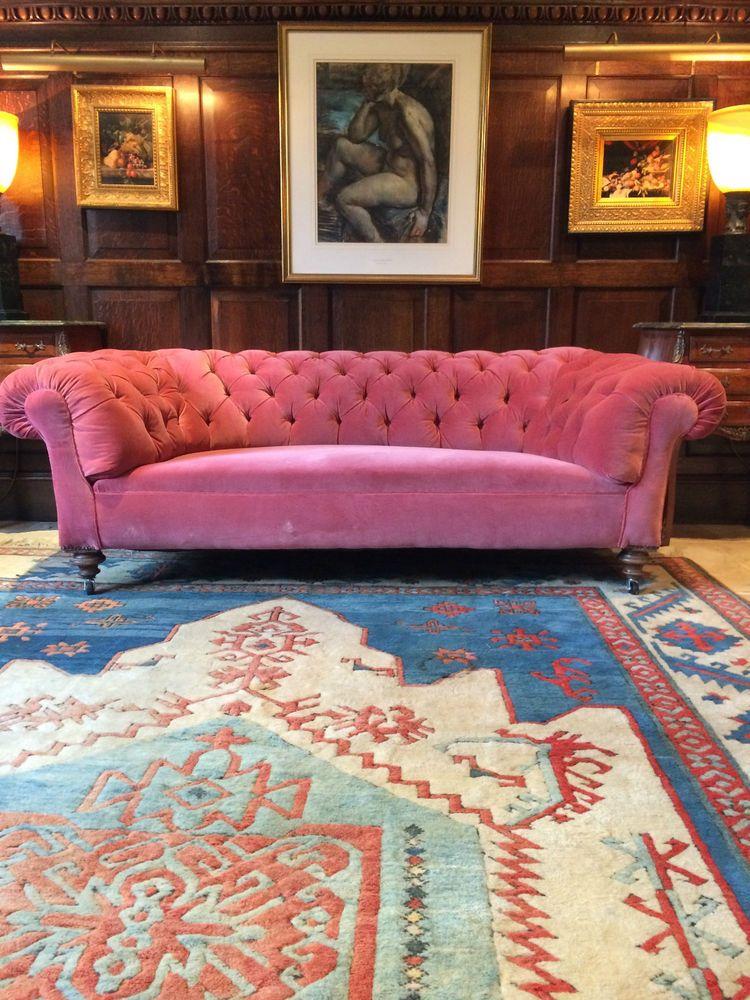 Antique Chesterfield Sofa Three Seater, Shabby Chic, Pink Velvet ...