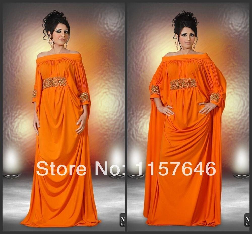 designer orange fitted wedding gowns | 2014-New-Design-Dubai-Kaftan-Abaya-Plus-Size-Flowing-A-Line-Off-The ...