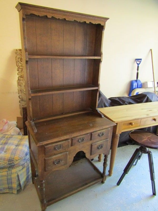 Small 20th Century Oak Hutch 66Tx30Wx16D Pine Bombay Of India Hall Table 30Tx48Wx15D Mahogany Plant Stand With Adjustable Height