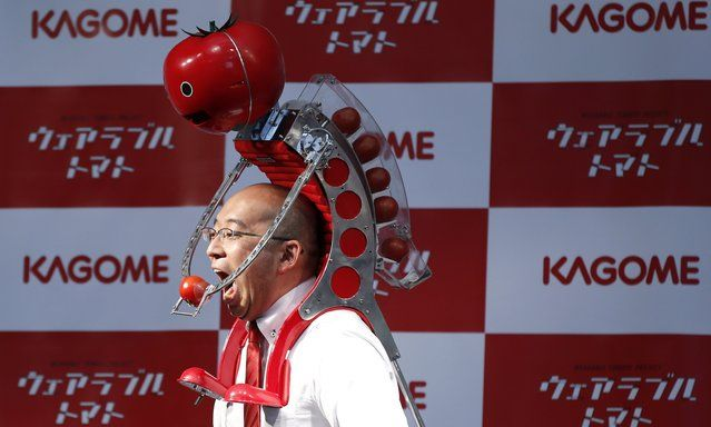 """Kagome Co's employee Shigenori Suzuki tries to eat a tomato which is fed to him by the newly-developed """"Wearable Tomato"""" device for runners, during its unveiling event ahead of the weekend's Tokyo Marathon in Tokyo February 19, 2015. (Photo by Toru Hanai/Reuters)"""