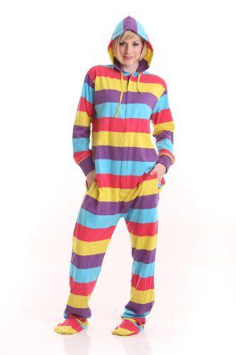 8d57fb499 funzee Adult Onesie Pjs Footed Pajamas Striped Playsuit Jumpsuit XS ...