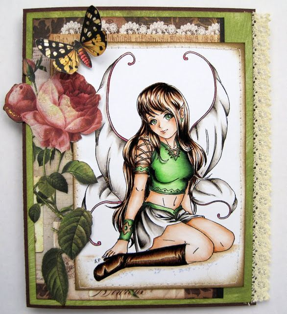 Alyssa - The Good Fairy...Skirt and wings: W1, W2, W3, W7 + some black spots.  Green: YG11; G21, G28, G29 + touches of black
