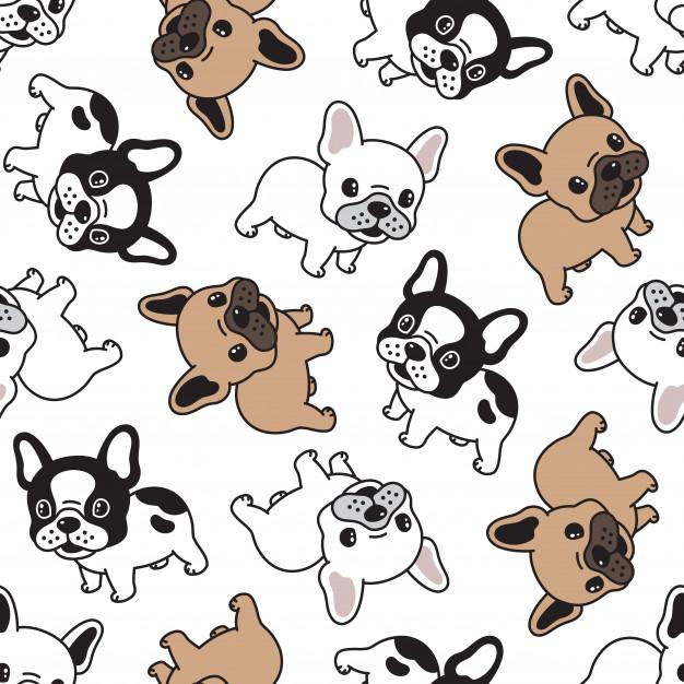 Perro bulldog francés de dibujos animados de patrones sin fisuras | Vector Premium