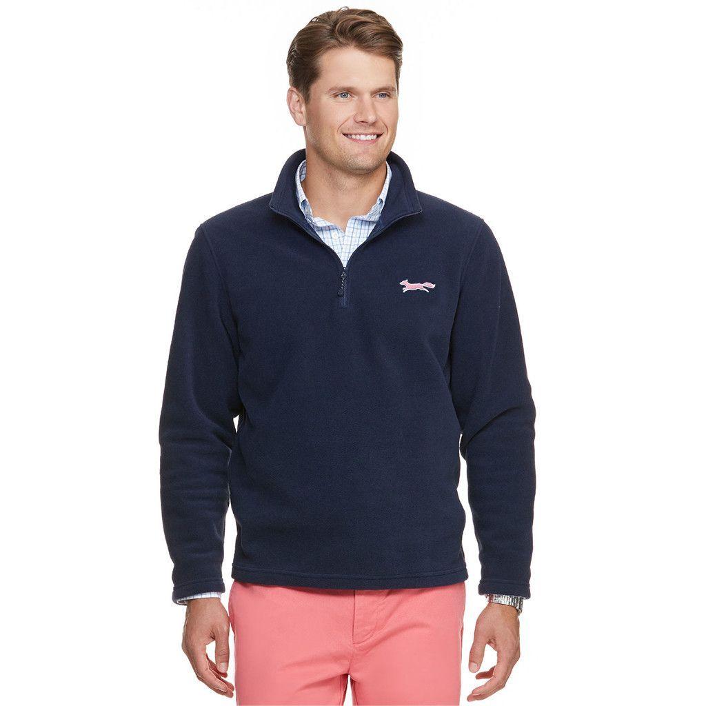 Longshanks custom fleece zip pullover in navy by vineyard vines