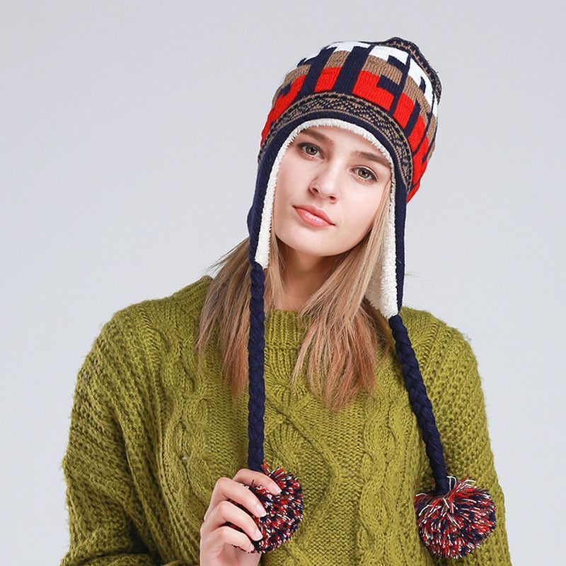 5dec9fc96644e  AETRENDS  New Fashion Designer Beanies Winter Hat with Ears Warm Beanie  Girl Hats with Top Ball Z-1355