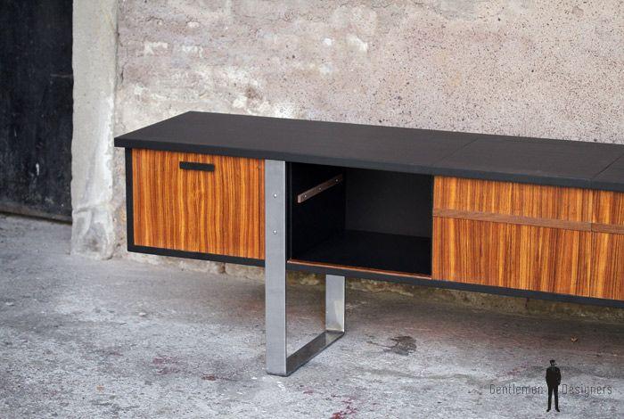 Enfilade, vinyle, meuble tv vintage scandinave en teck