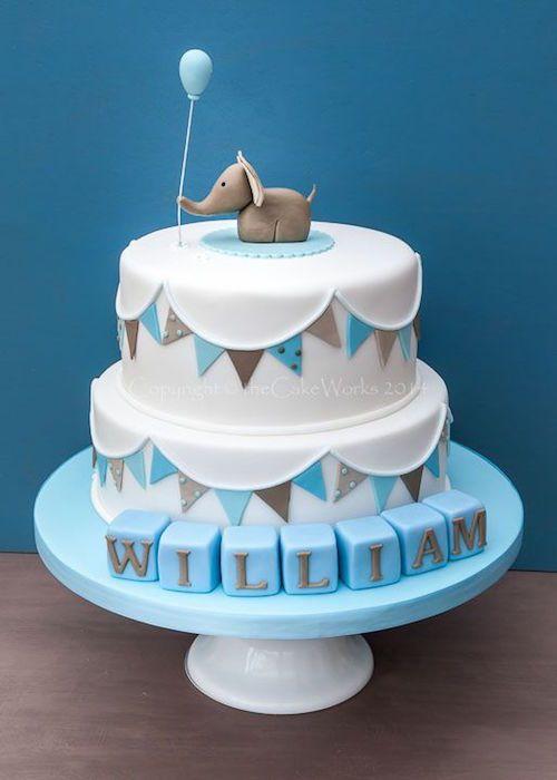 G teau babyshower l phant et ballon pour gar on anniversaire petite fille pinterest cake Gateau anniversaire garcon