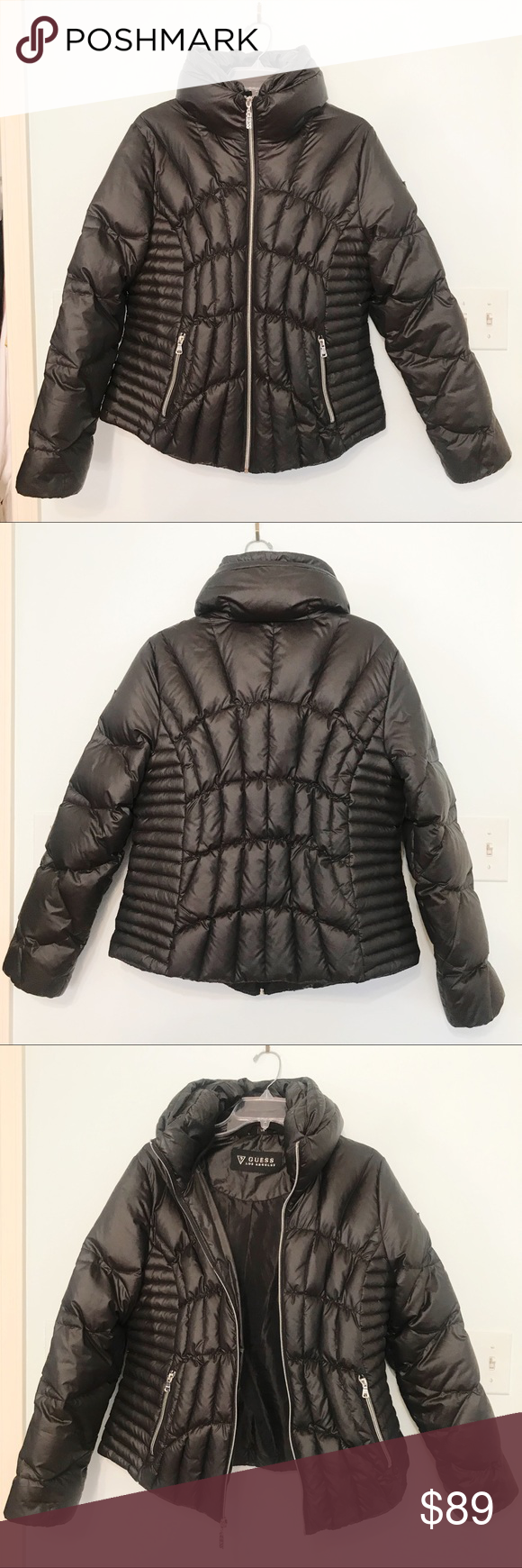 Guess Down Puffer Coat Jacket Black Large Clothes Design Down Puffer Coat Fashion [ 1740 x 580 Pixel ]