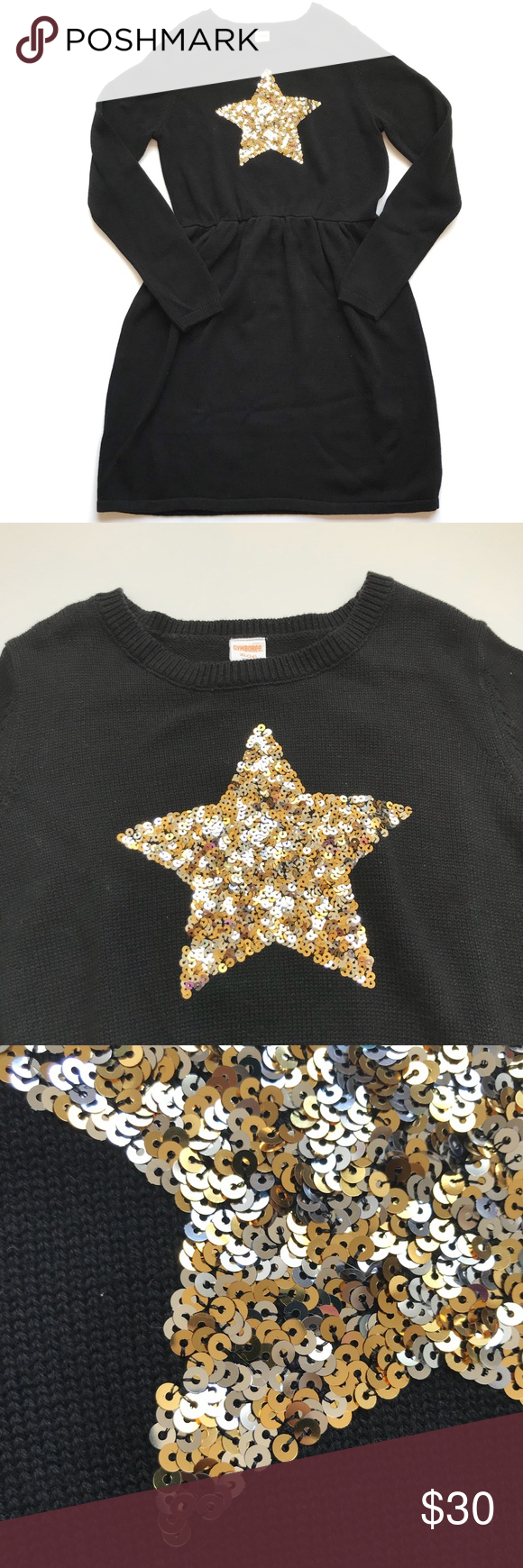 Gymboree Winter Star Sweater Dress Black Gold Sequin Nwt Girls Xl 14