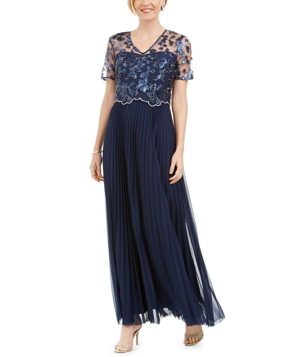 Tahari Asl Embellished Floral Overlay Gown Reviews Dresses Women Macy S In 2020 Print Chiffon Maxi Dress Review Dresses Tahari Asl [ 1219 x 1000 Pixel ]