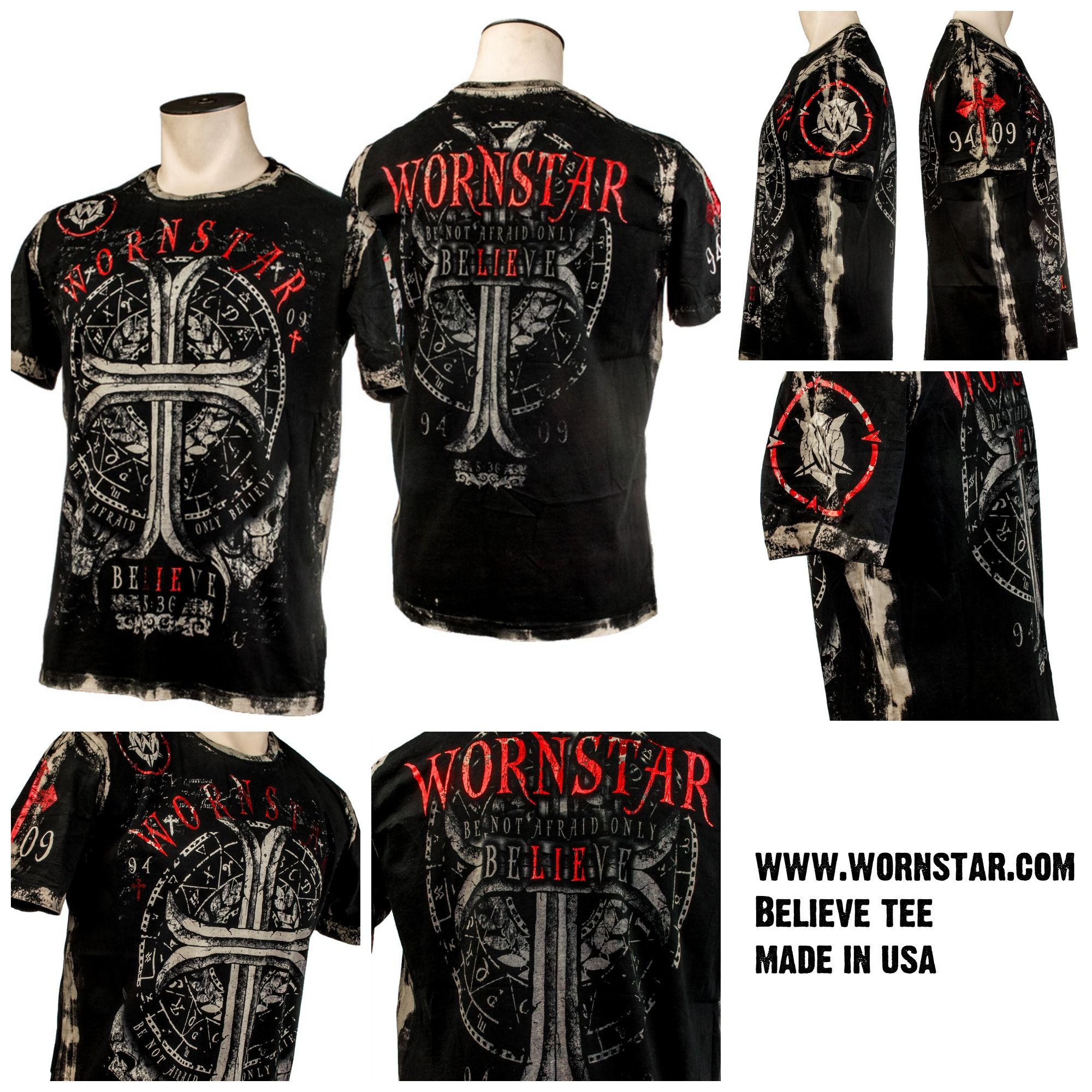 Believe Tee https://www.wornstar.com/collections/mens-collection/products/believe-tee • Made in USA • 100% pre-washed cotton soft t-shirt • Finished with shiny distressed red foil
