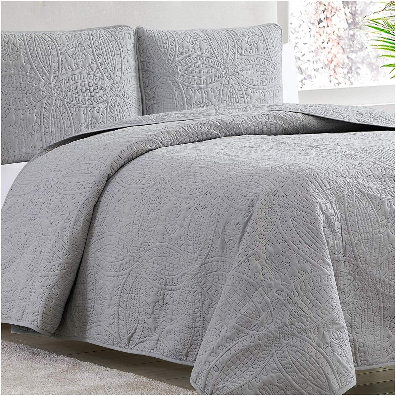 Mellanni Bedspread Coverlet Set Gray Comforter Bedding Cover Oversized 3 Piece Quilt Set Full Queen Light Gray Walmart Com In 2020 Bed Spreads Grey Comforter Bed Comforters