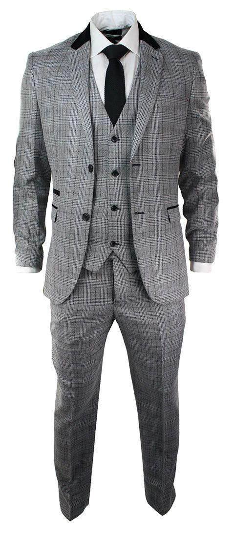 Jacket men tweed herringbone and grey check vintage cut detail velour blue