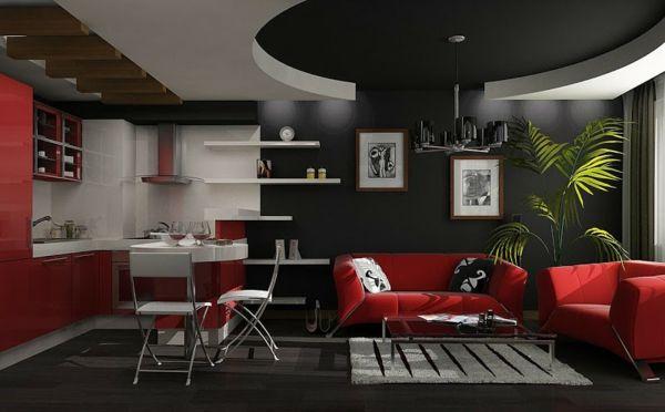 design : wohnzimmer schwarz streichen ~ inspirierende bilder von ... - Wohnzimmer Rot Streichen