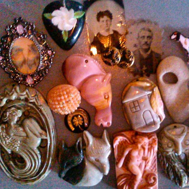 Tammies treasures awaiting to be made into lovely jewelrySome of my favorite stone pendants I need to find beads to complete the necklaces