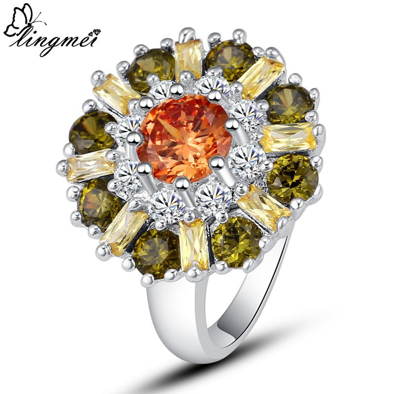 Fashion Alluring Cubic Zirconia Crystal Flower White Gold Plated Ring Size 8