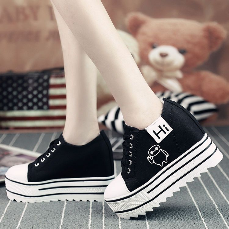 Fashion Women New Korean Flat Platform Canvas Casual Lace Up Shoes Wedge Sneaker