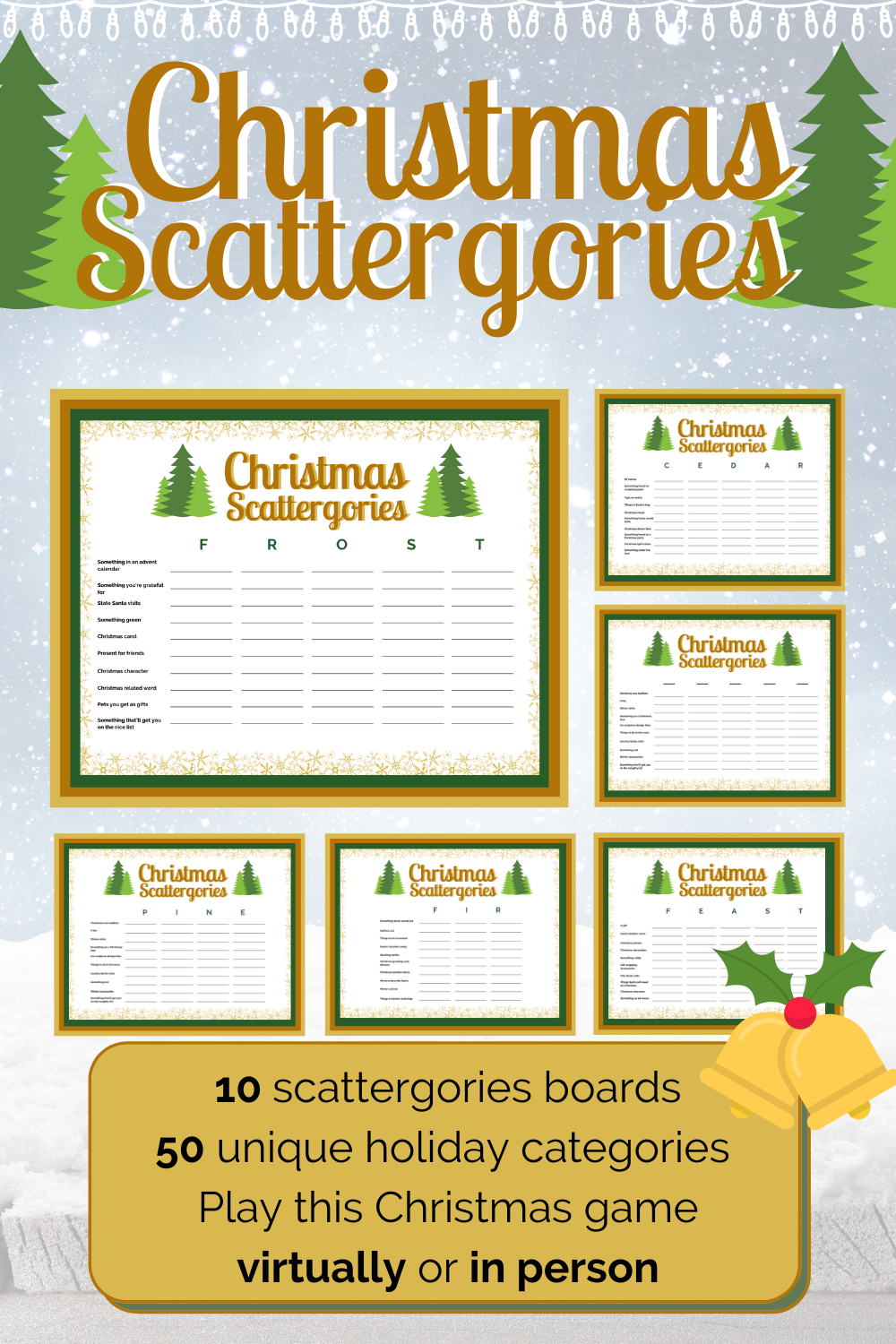 Scattergories Christmas Game - Family Holiday Games - Virtual Christmas Games