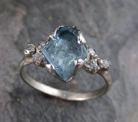 unique artisan jewelry alternative wedding Moss aquamarine and sterling silver twig ring handmade exquisite one of a kind size 6