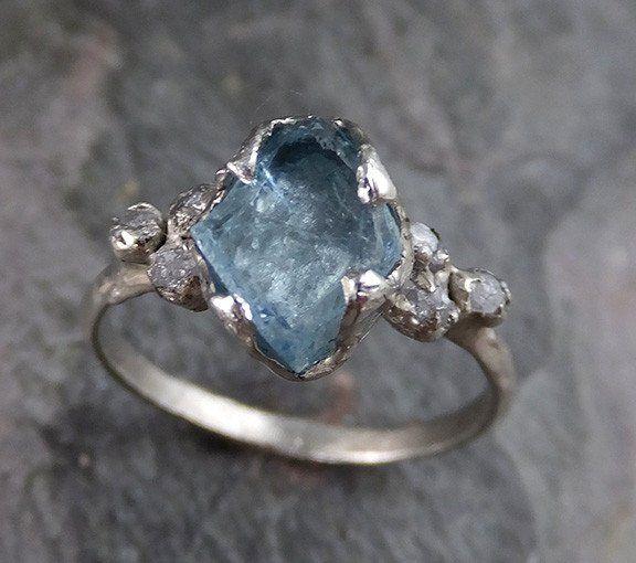 Raw Uncut Aquamarine Diamond Gold Engagement Ring Wedding White Ring Custom One Of a Kind Gemstone Bespoke Three stone Ring