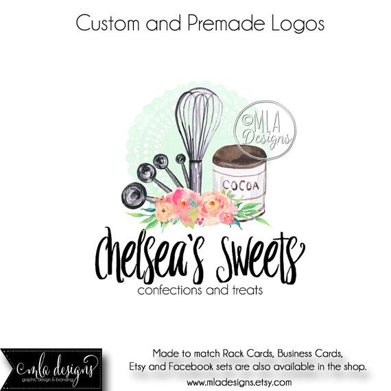 Premade Logo Baking Watercolor Logo Bakery Logo By