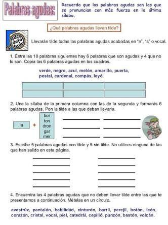 Resultado De Imagen Para Ejemplo De Textos Para Completar Con Palabras Agudas Esdrujulas Graves Para Cuarto De P Bilingual Education Education Learning Spanish