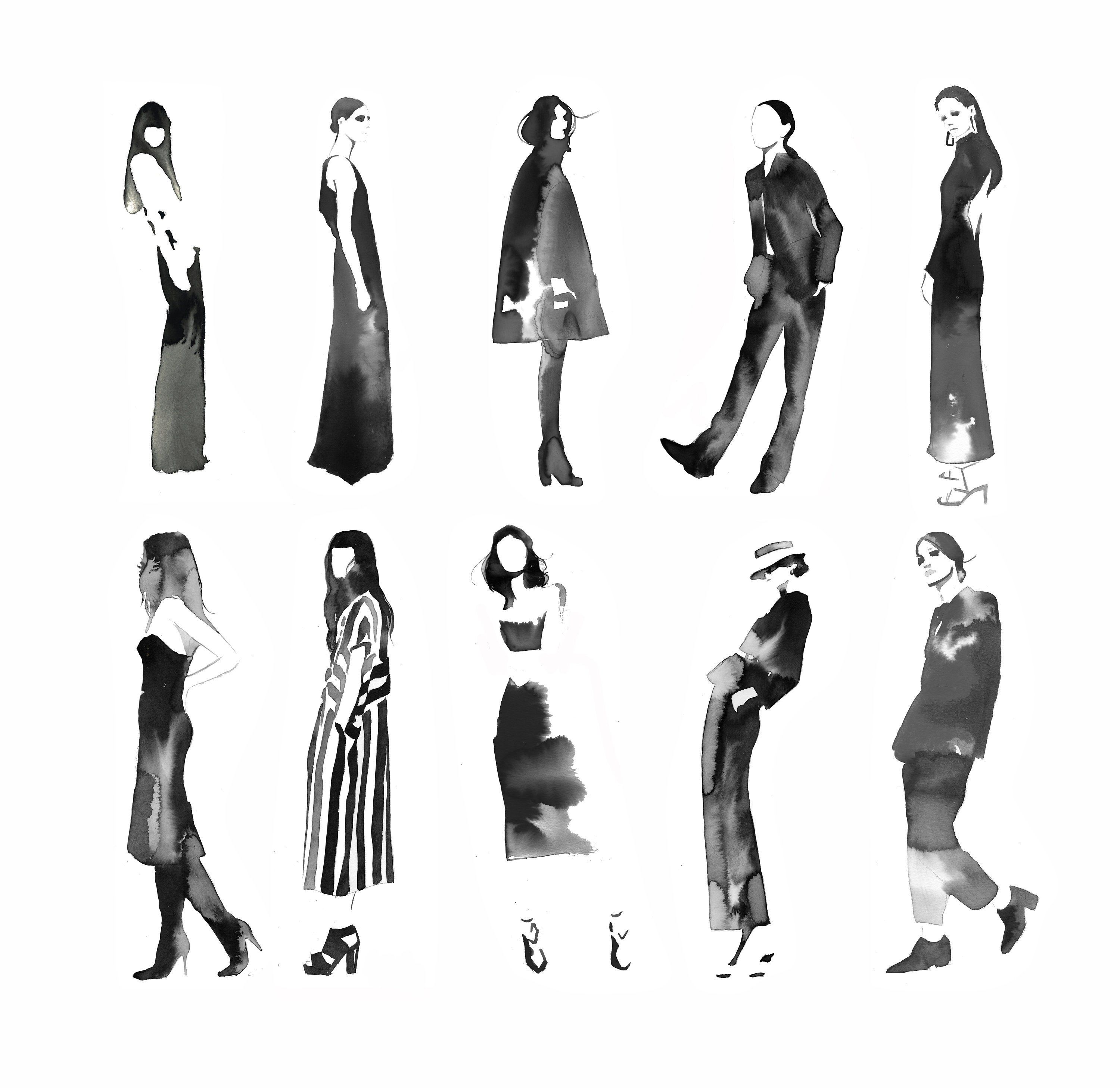 , Black and White & Chic Allover, print from original watercolor fashion illustration by Jessica Durrant, Family Blog 2020, Family Blog 2020