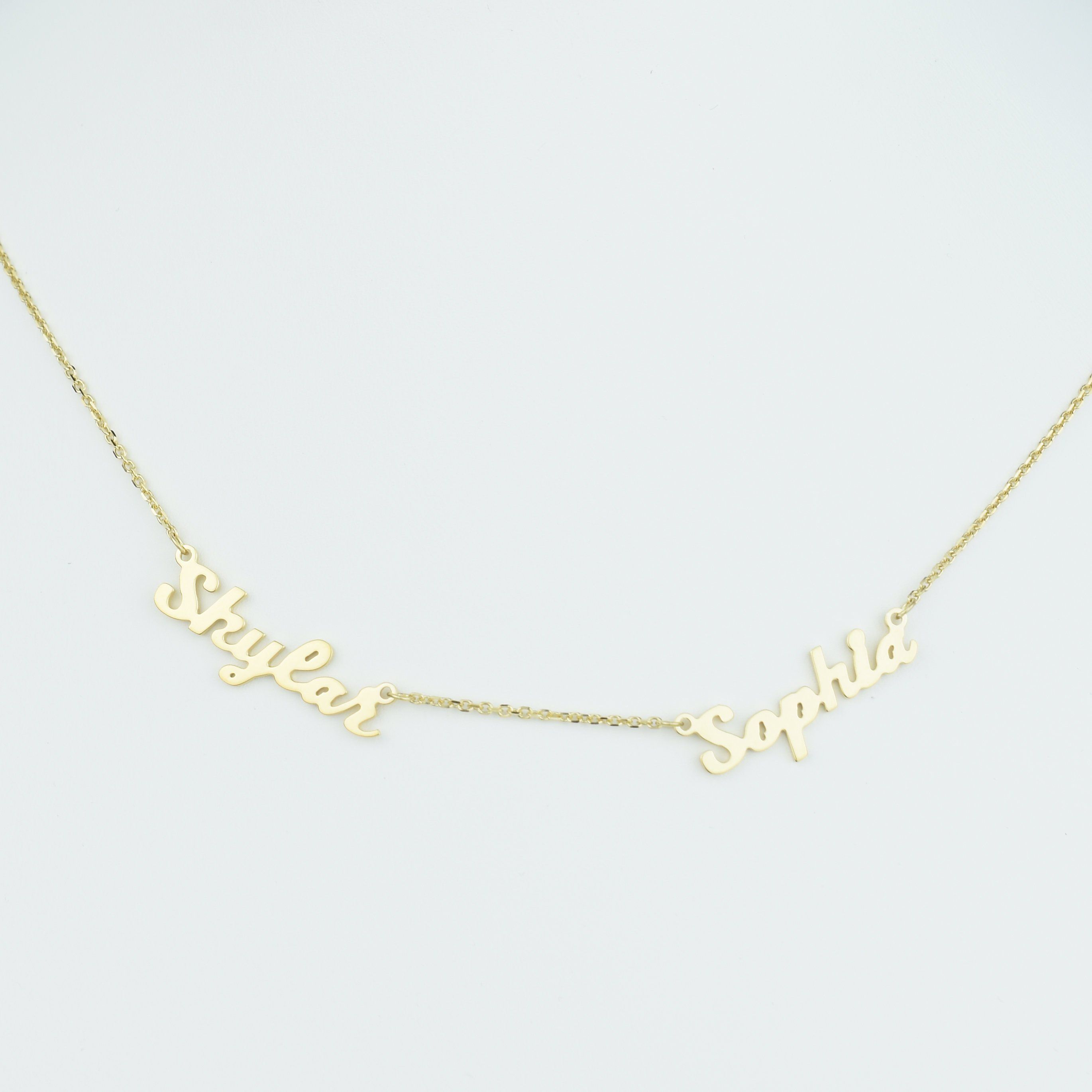 3dae8aa2f034b Two Name Necklace, Dainty Name Necklace for Her, Personalized Name ...