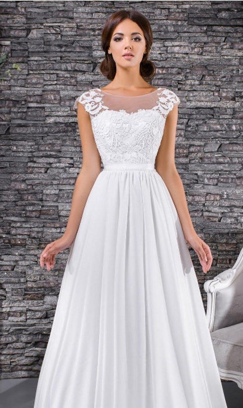 Chiffon Wedding Dress With Beautiful Back 2020 Wedding Dress Etsy In 2020 Straight Wedding Dresses Simple Lace Wedding Dress Etsy Wedding Dress