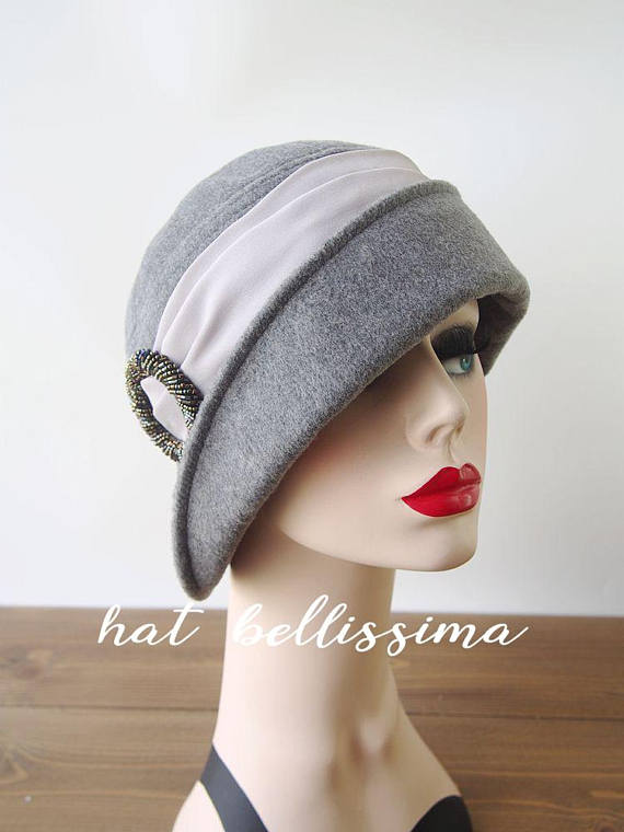 dfd66efaaa6 SALE gray 1920 s Hat Vintage Style hat winter Hats hatbellissima ladies hats  millinery hats cloche H