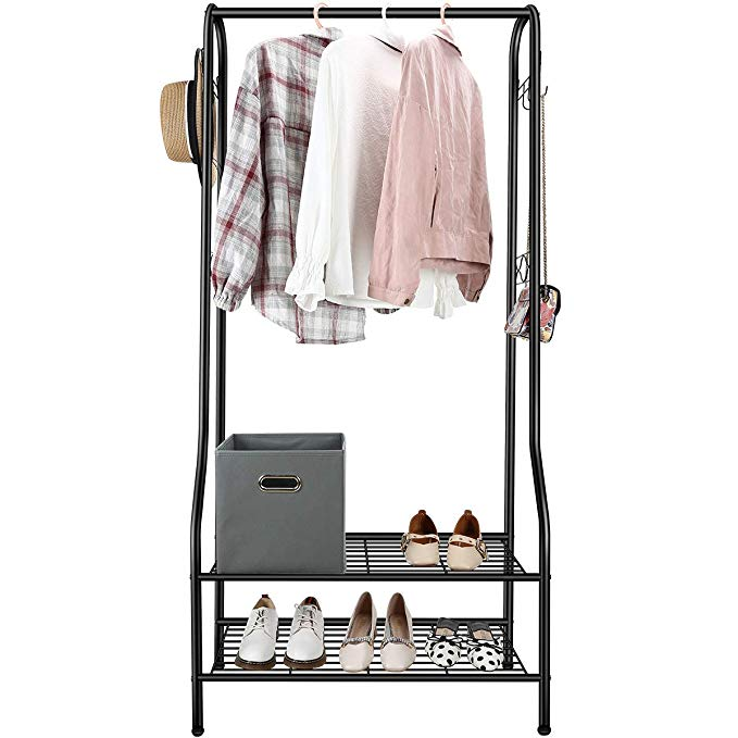 Clothes Single Garment Shoe Rack Tiers Storage Shelves Bedroom Entryway Metal US
