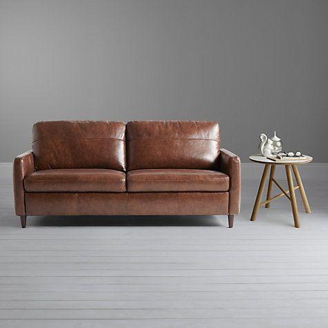 Buy John Lewis Dalston Semi Aniline Leather Large Sofa Earth Bronx Online At Johnlewis Com Small Leather Sofa Small Sofa Sofa