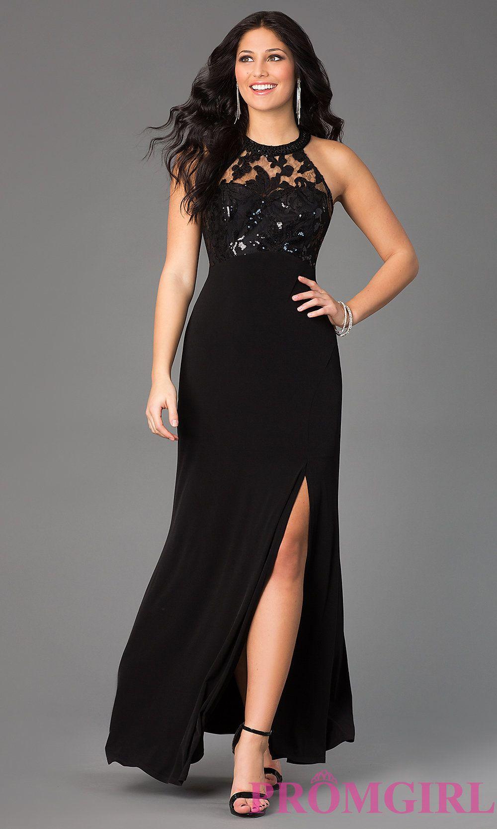 Image of long black sleeveless high neck sequin