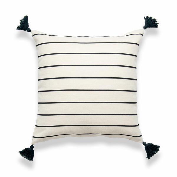 "Moroccan Tassel Neutral Pillow Cover, Striped, Beige Black, 18""x18"""