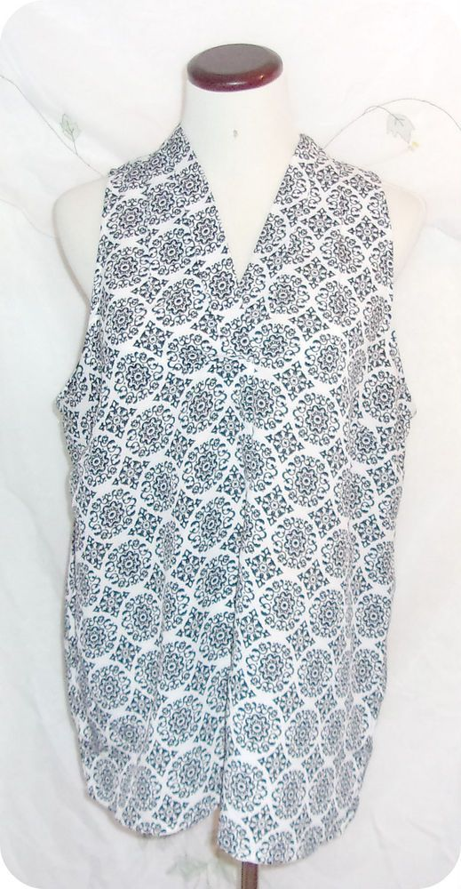 AVA CHRISTINE Top Size XL Womens Black White Print Sleeveless Polyester  #AvaChristine #KnitTop #CareerCasual