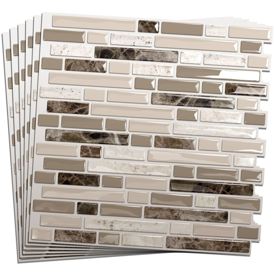 Smart Tiles 6 Pack White Beige Brown Glossy Composite Vinyl Mosaic Linear Peel And Stick Wall