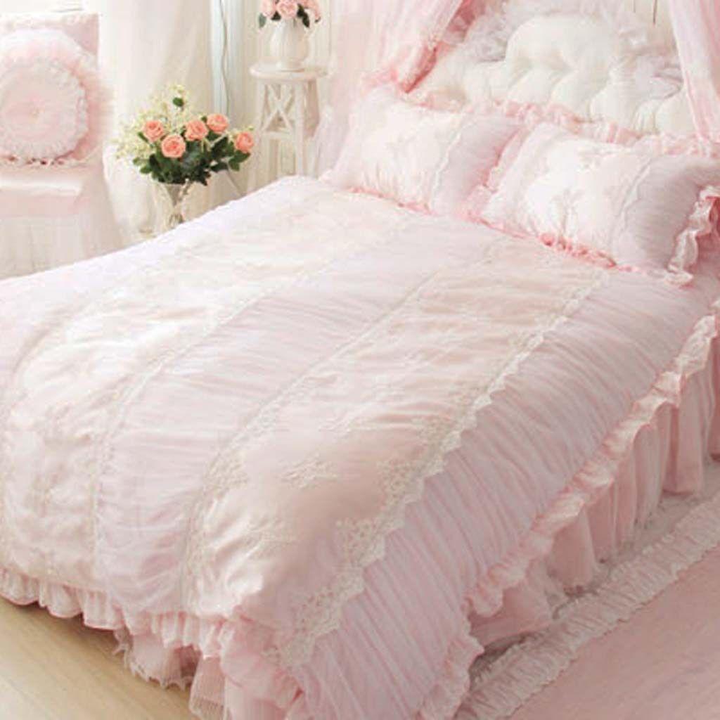 Paris Dream Ruched Duvet Cover Set Pink Bedding Set