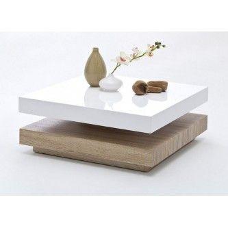 Table basse carrée pivotante laqué blanc/bois Margo | MOBILIER ...