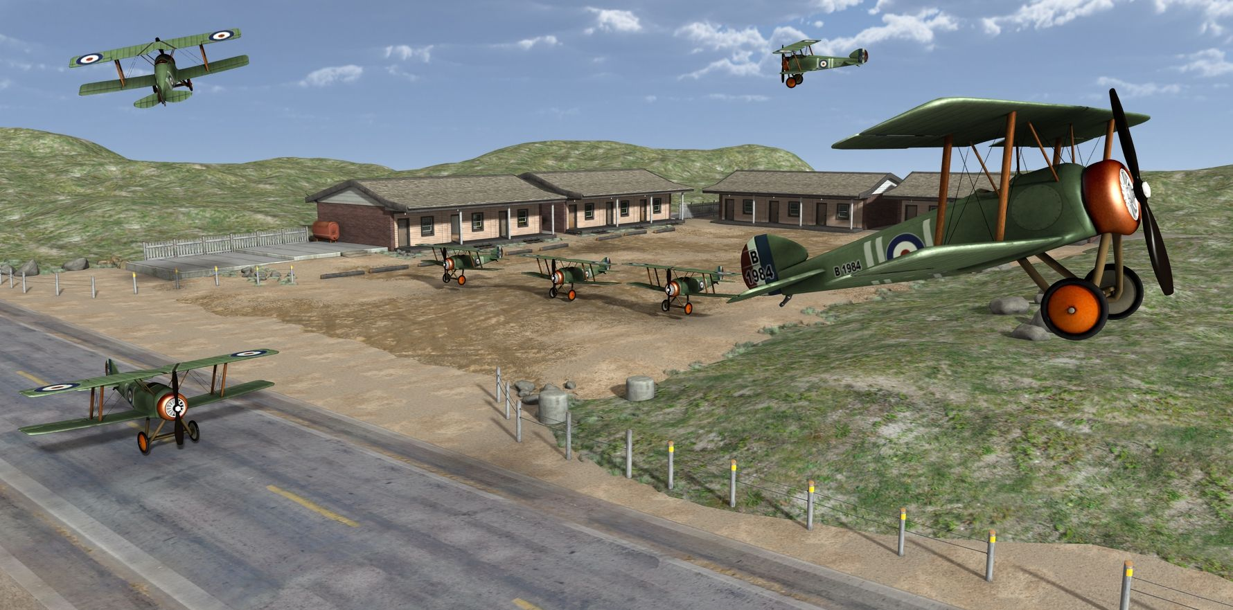 Biplane Airfield rendered in 3Delight in DAZ Studio 4.9