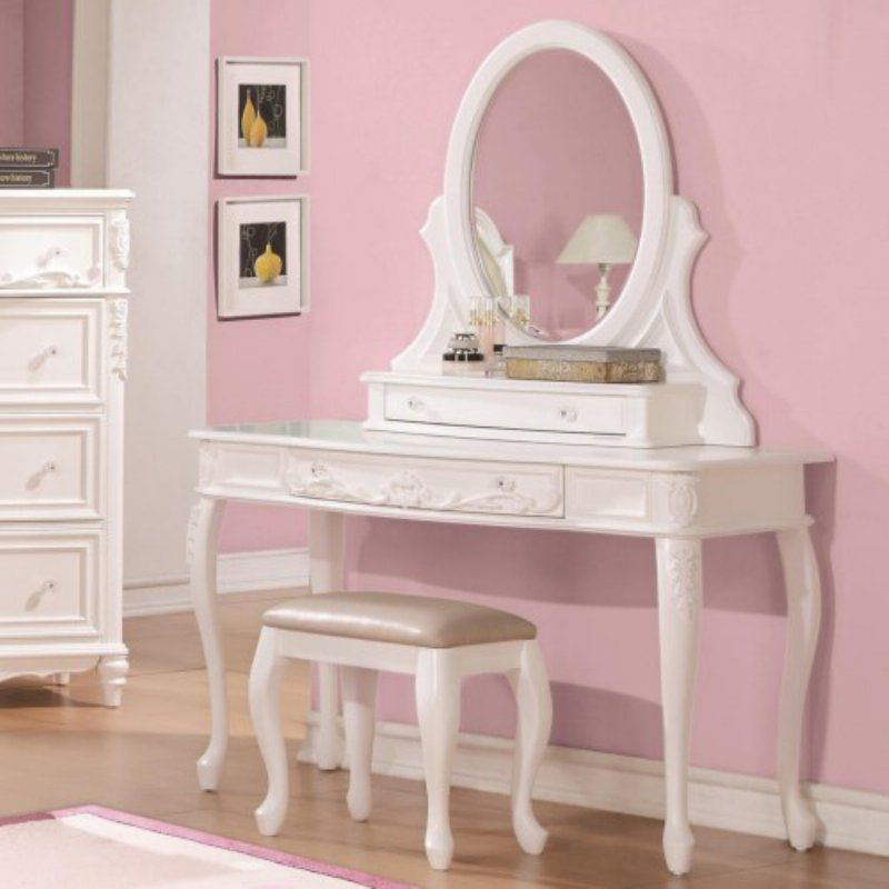 Coaster Furniture Caroline Collection Cabriole Leg Vanity Desk with ...