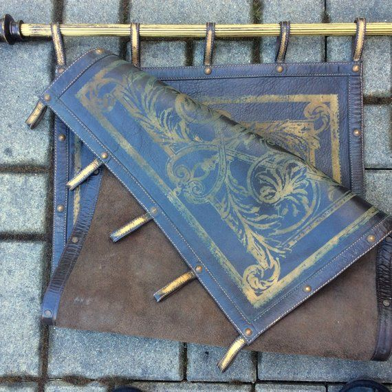 Antique Leather Wall Hanging 46x20 Vintage Tabbed Stamped In Gold