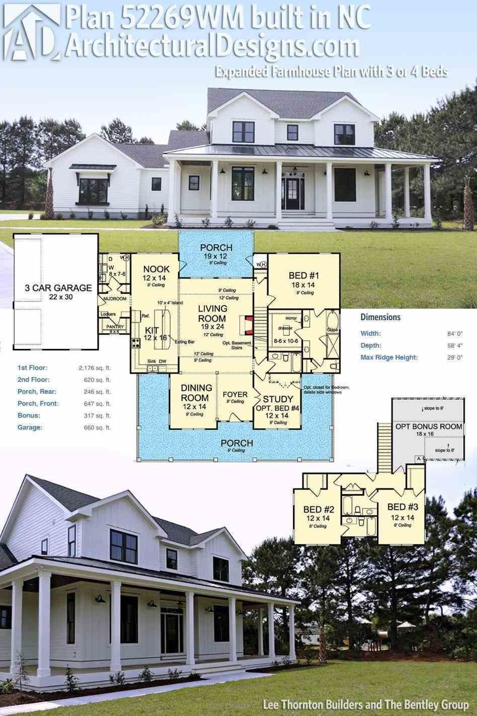 Exterior home design one story  Two Story Farmhouse Design Porch Designs Houses Rancher House Farm