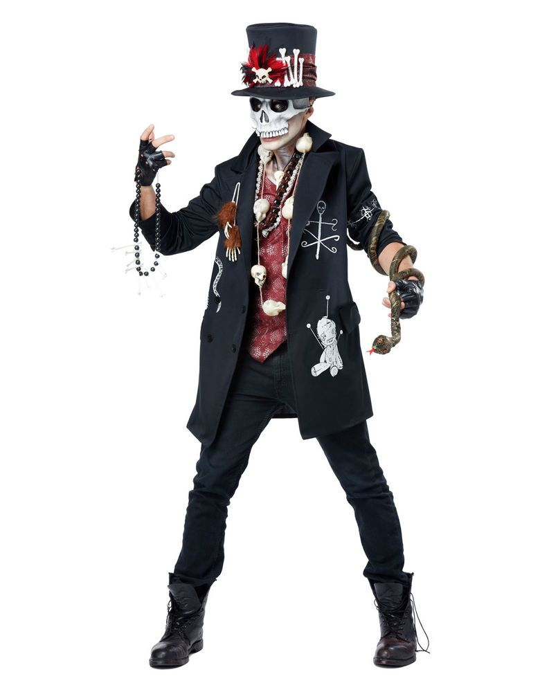 Mens Voodoo Witch Doctor Halloween Costume Spooky Scary Skeleton ...