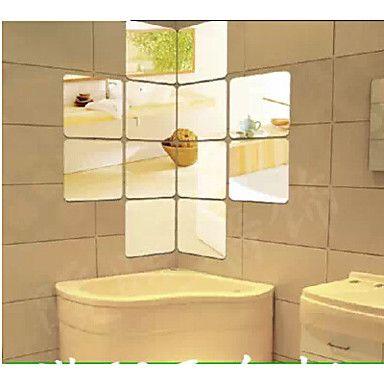 6pcs Quadrangular Shaped DIY Mirror Wall Stickers Art Decals(16*16cm ...